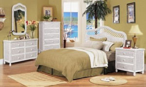 Santa Cruz White Wicker Bedroom