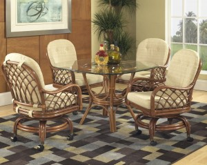 Grand Isle Rattan Caster Dining Set