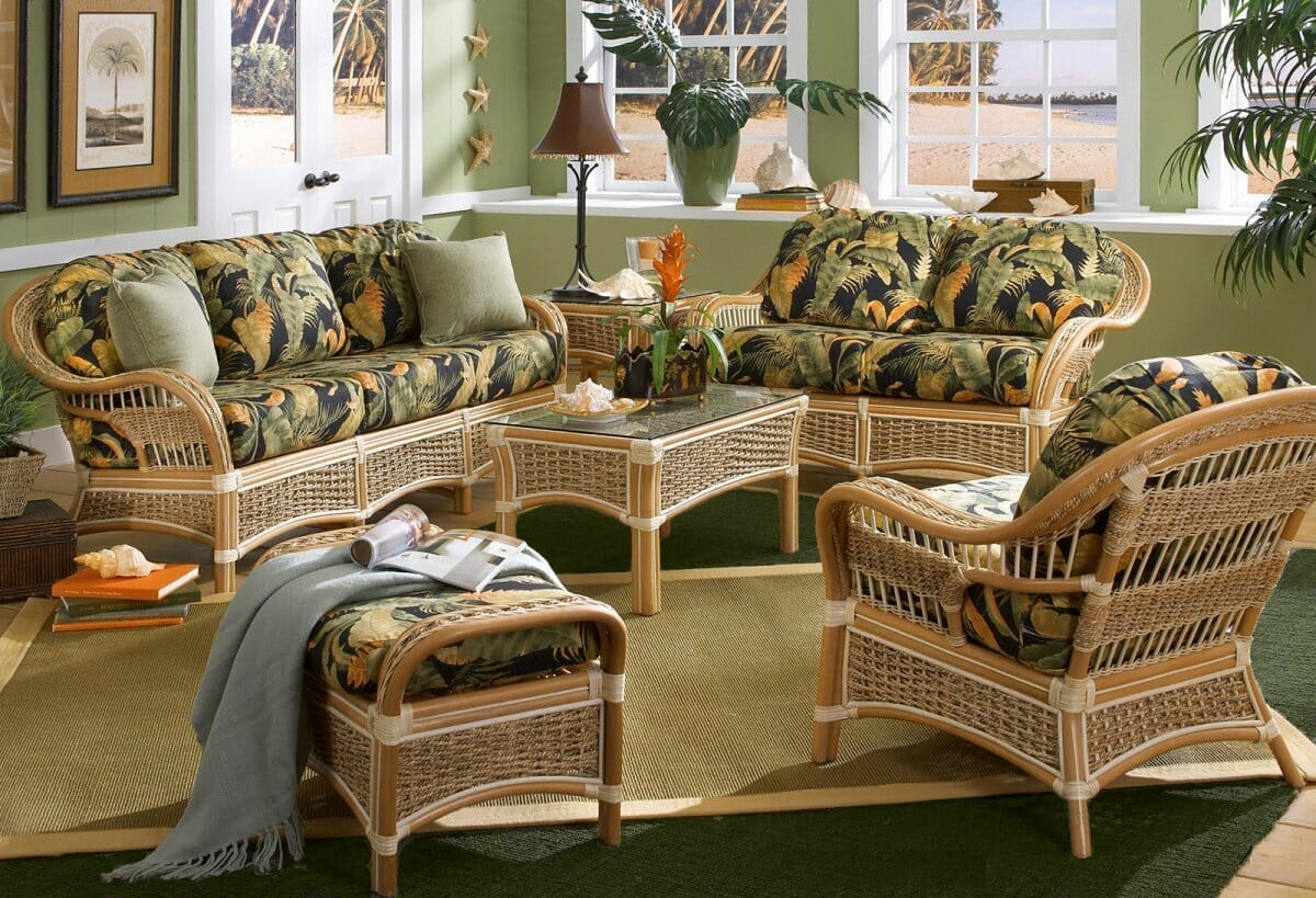 Wicker Rattan Living Room Furniture. Islander Set  Rattan and Banana Bark Rope Made with