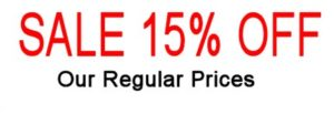 15% off regular prices