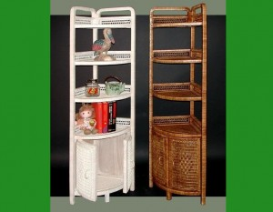 4120 Wicker Corner Stand w-doors - ww-bw