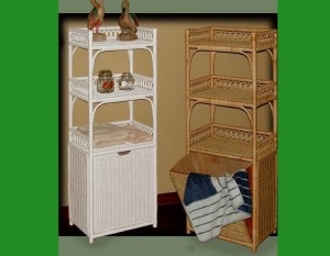 4907 Wicker Floor Stand w-pull out hamper w-h