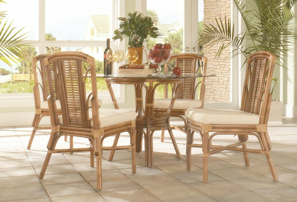 Bayview Wicker Dining Chairs U0026 1856GL39 42u2033 Square Round Glass