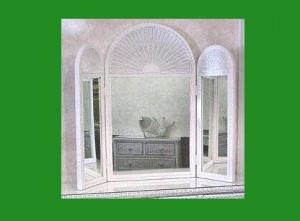 Tri-fold Wicker Mirror