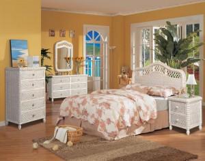 Santa Cruz Wicker Bedroom White Wash Finish