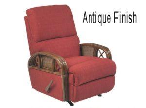 rattan recliner - antique finish