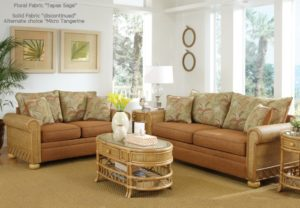 Rattan peel rolled arms