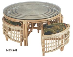 Rattan Round Table with Benches - natural