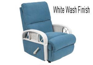 rattan recliner - white wash finish