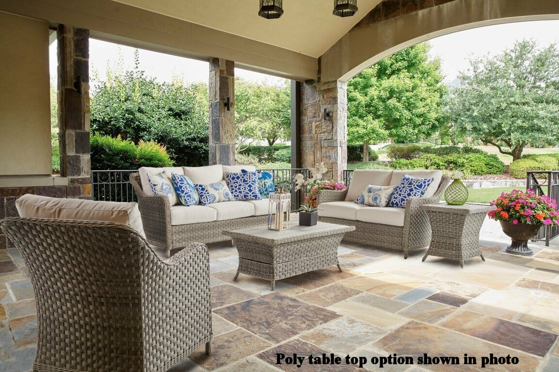 Summertime outdoor wicker seating