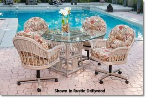 Rattan Caster Dining Chair - Rustic Driftwood