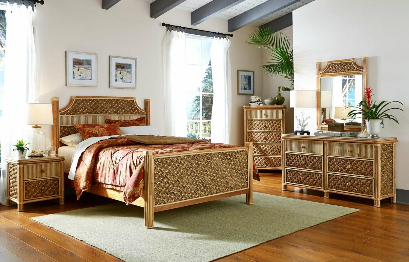Island Tropical Wicker Bedroom Set