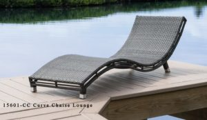 Outdoor wicker curved chaise lounge