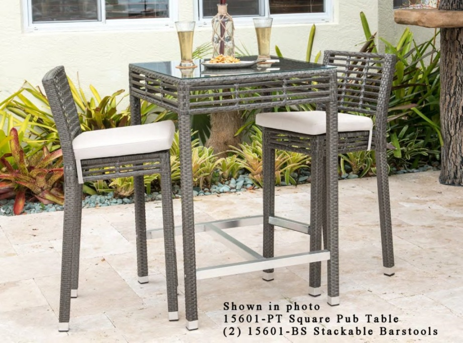 Greystone outdoor wicker pub set of 3